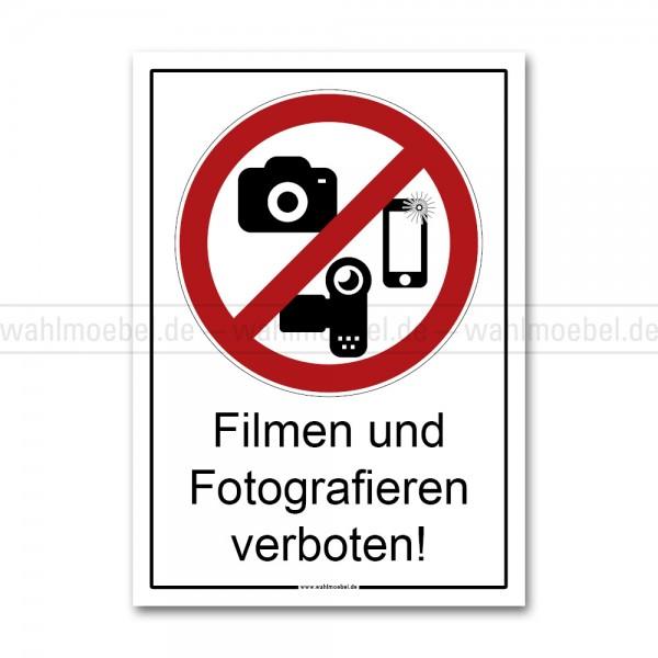 Aufkleber - Filmen und Fotografieren verboten